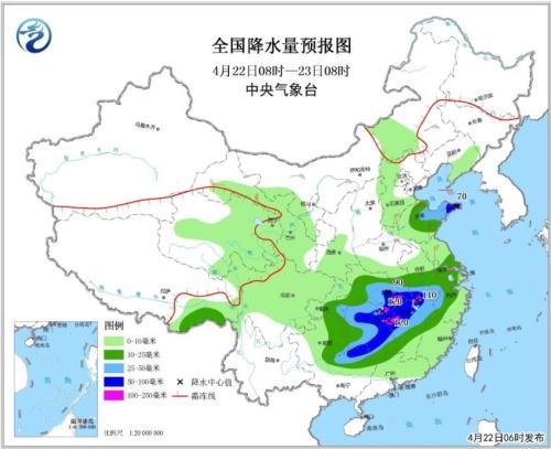 全国降水量预报图(4月22日08时-23日08时)