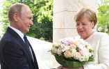 """德媒谈俄德领导人会晤:普京送默克尔花束是""""侮辱"""""""
