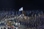 """亚运会开幕式朝韩再度携手 高擎""""朝鲜半岛旗""""共同入场"""