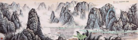 张天成四尺横幅山水画作品《别董大》图片