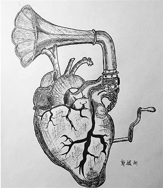 人体解剖学绘图比赛参赛作品.-大学举办解剖学绘图赛 学生课堂笔记