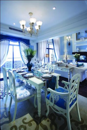 欧式蓝色客厅布置