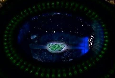 里约奥运会开幕式精彩瞬间:五环展示