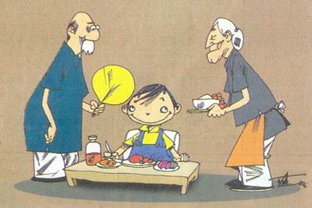 老人喂小孩吃饭简笔画-山东孩子六成隔辈带 太过溺爱 奶奶追着孩子喂饭