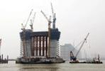 沪通铁路跨长江大桥进展:325米高主塔将拔地而起