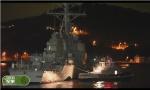 美军被撞战舰再添破洞