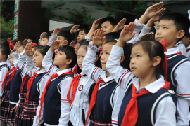 """滑县组织开展""""向国旗敬礼 做出彩少年""""升国旗活动"""